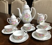 Chugai China Occupied Japan Floral Tea Pot 16 Piece Set Floral Gold