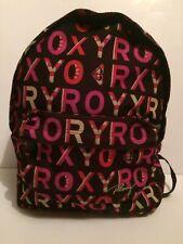 Roxy Rosa Negro y Gris con logotipo impreso Mochila Bolso Escolar Mochila utilizado.