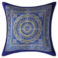 "Indian Pillow Case Mandala Brocade Silk Mandala Blue Cushion Cover Throw 12X12"""