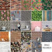 45*100cm 3D PVC Wood Sticker Grain Brick Stone wall paper Rustic  Self-adhesive