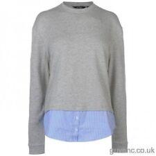 Golddigga Half Stripe Faux Shirt Sweater Top Size 14 UK Grey