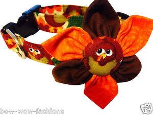 SPIFFY POOCHES Dog Collar THANKSGIVING TURKEY Blossom Flower Puppy Clothes
