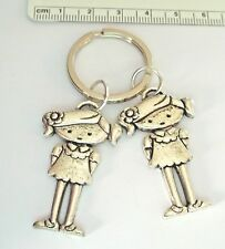 Pewter 2 Girls Daughter Sisters Friends Granddaughters Twin Keychain Keyring