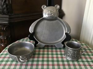 Carson Pewter Child Bowl, Plate, Cup - from Priscilla Presley estate sale