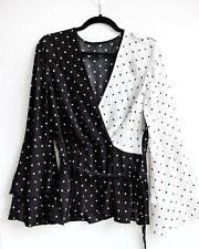 River Island Blouse Black White Polka Dot Wrap Tie Waist Bell Top Bell UK 8 34 S