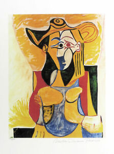 Pablo Picasso Seated Woman With Hat Giclee Estate Print 20x13