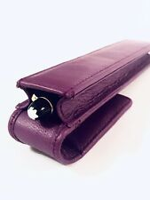 Purple Leather Single Magnetic Pen Case/Pouch Real Leather Hand Made