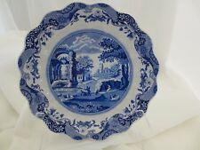 """SPODE BLUE ITALIAN SCALLOPED ROUND SERVING BOWL 10""""  ANCIENT ROME HTF ENGLAND"""