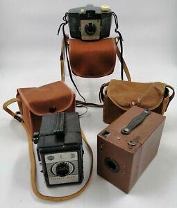 3x Vintage Kodak Cresta Hawkeye No.2 'Brownie' Conway w/ Cameras Cases UNTESTED