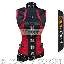 Steampunk Overbust Gothic Steel Bone C Hook Red Black Satin Bolero Jacket Corset