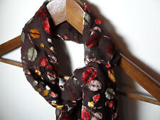 Women's Brown Chiffon and Multi Colored Velvet Scarf with Branch and Leaf Design