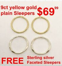 9ct Gold Sleepers SOLID, Plain, Hinged, Yellow & FREE Sterling Silver Sleepers