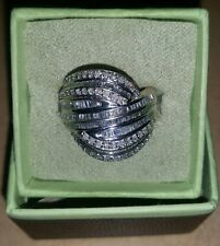 Stirling silver fancy round & bag diamond dome bypass ring