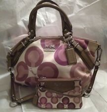 COACH Madison Sophia Taupe Brown/Mauve/Purple Clover Sateen Satchel & Wristlet