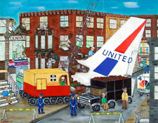 BROOKLYN  Print- PLANES COLLIDE- Plane crash over Park Slope