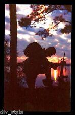 Marine at Prayer postcard US Navy