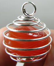Botswana 100% Natural Tumbled Rough Carnelian Crystal In Spiral Cage Pendant