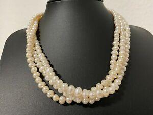 3 reihiges  Süßwasserzuchtperlen  Perlen Collier Kette Länge 42+3 cm