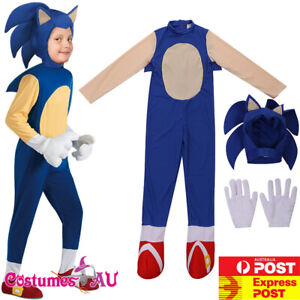 Kids The Hedgehog Sonic Costume Child Boys Carnival Book Week Party Jumpsuit