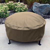 Sunnydaze Fire Pit Cover Heavy-Duty Round Khaki Waterproof 300D Polyester - 36""