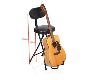 Haze Combination Guitar Stool Performance Seat and Single Guitar Stand KB011