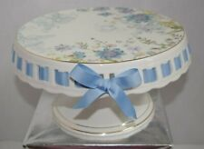 NEW GRACE'S TEAWARE GARDEN FLOWERS PURPLE BLUE RIBBON CAKE FOOTED PEDESTAL STAND