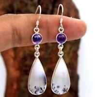 Women 925 Silver Wedding Jewelry Fashion Opal Amethyst Dangle Drop Earrings