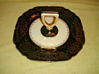 Vintage Noritake Handpainted Japan Black Gold Serving Tray With Handle Scalloped