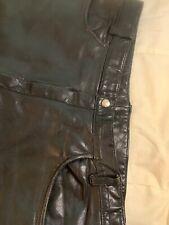 Vintage Bermans Mens Black Leather Motorcycle Pants 34/36 x 30