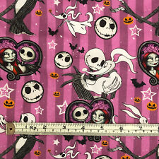 More details for nightmare before christmas purple 100% cotton fabric, fat quarter or half metre
