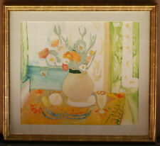 """MAGNIFICENT STILL LIFE FLOWERS WATERCOLOR PAINTING 22K GOLD LEAF FRAME """"SIGNED"""""""