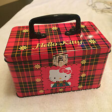 "Vintage (1996) Sanrio Hello Kitty Red Plaid 7"" Tin Latched Box wth Handle RARE"