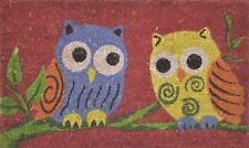 Owl Doormat - Colourful Owls Coir Doormat PVC Backed