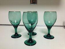 "LIBBEY JUNIPER GREEN WITH GOLD RIM WINE GLASSES EMERALD  - 7"" TALL  4 TOTAL"