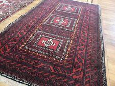 Antique 4x6 Afghanistan Afghan Geometric Oriental Area Rug orange red