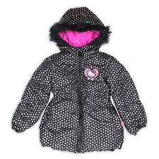 Girls Puffer Jacket - Hello Kitty W/ Foil Print Hearts & Fleece Lined Hood, Sz 6
