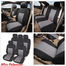 9Pc Universal Car Polyester Seat Covers Cushion Front Rear Full Set For 4-Season