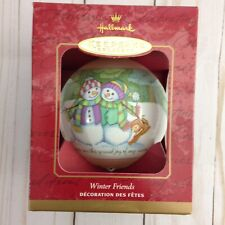 Hallmark Keepsake Ornament Winter Friends Glass Ball 2001 QX224