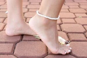 """Coconut Shell Anklet - 9"""", Beige Coconut Shell (Thin), Hawaiian Surfer Style"""