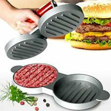 Double Burger Press Hamburger Maker Non Stick Aluminium Beef Patty Meat BBQ
