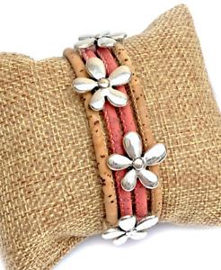 Flower Themed Natural & Coral Cork Bracelet / Natural Eco Vegan Bracelet