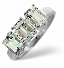Aquamarine and Diamond Ring White Gold Trilogy Engagement Appraisal Certificate