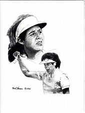 """Nancy Lopez Limited Edition Pencil Drawing 8.5"""" x 11 Print By Frank Nareau 1995"""