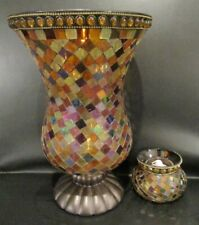 PartyLite Global Fusion Hurricane Stained Glass Mosaic & Mini Candle Holder Set