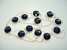 """Cushion-Cut Station Silver Necklace 28-36"""" Ab One-of-a-Kind Blue Sapphire 12 Gem"""