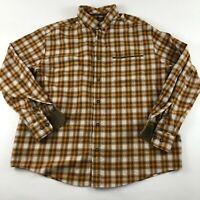 Cabelas Mens Flannel Button Up Plaid Orang Long Sleeve Shirt Size Large EUC