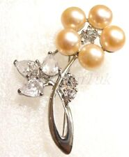 Blanco Rosa Negro Perla Imitación Broche 18kgp Cristal Flor De Ciruelo