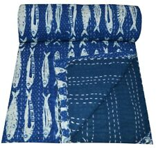 Handmade Cotton Vintage Kantha Quilt Blanket Twin Size 100% Cotton Fish Print