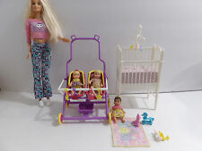 Barbie Krissy Stroll n Play Twins Stroller Crib Dolls Accessories Playset Lot