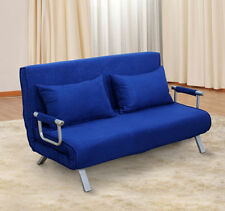 2 Person Folding Futon Sleeper Sofa Bed Convertible Soft Couch Furniture Pillows